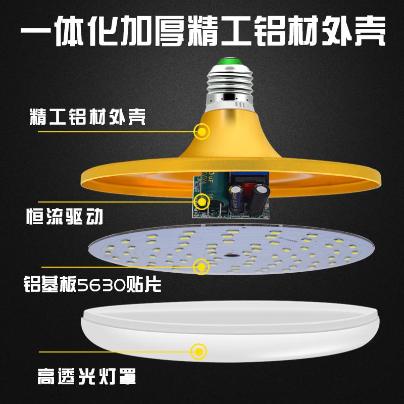 美凌led灯泡大功率超亮飞碟灯家用E27螺口节能灯厂房车间照明光源