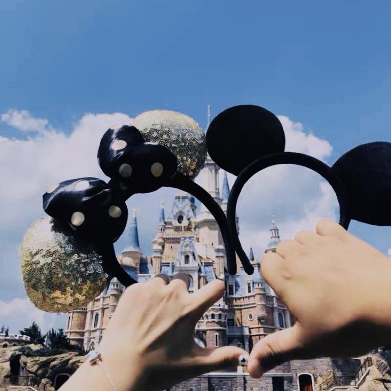 米奇耳朵发箍迪士尼乐园游玩米老鼠米妮耳朵发饰紫色波点头饰