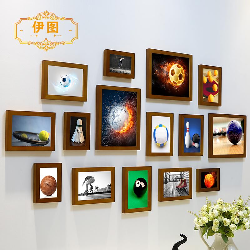 篮球足球照片墙台球体育用品店背景墙健身房装饰画相片墙相框组合
