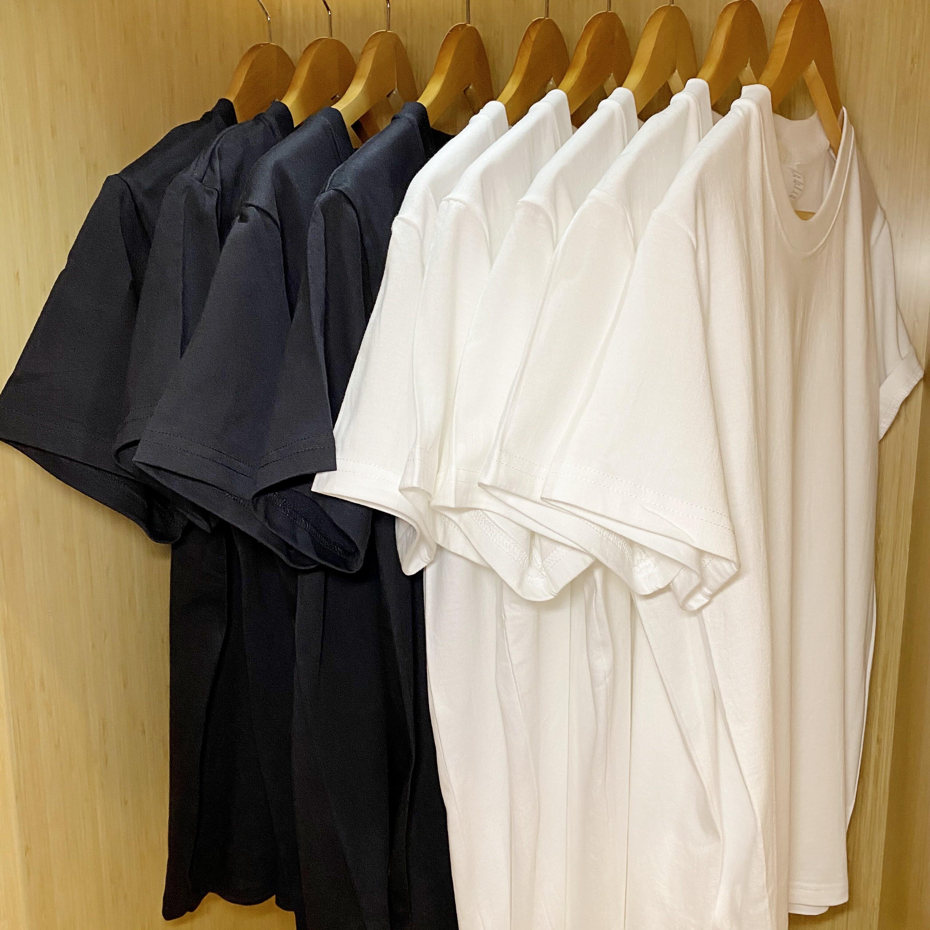 (买一送一)210g美式重磅纯棉圆领打底T恤纯色男女宽松短袖t夏季
