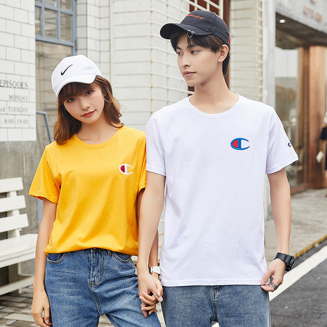 Summer short sleeve T-shirt cotton crew neck embroidered couple women's half sleeve men's loose oversized student top trend