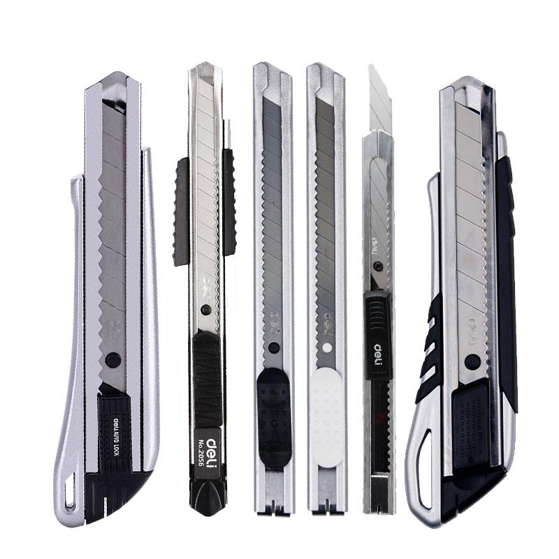 得力美工刀大号壁纸刀片小号裁纸刀架墙纸不锈钢介刀重型工具刀具