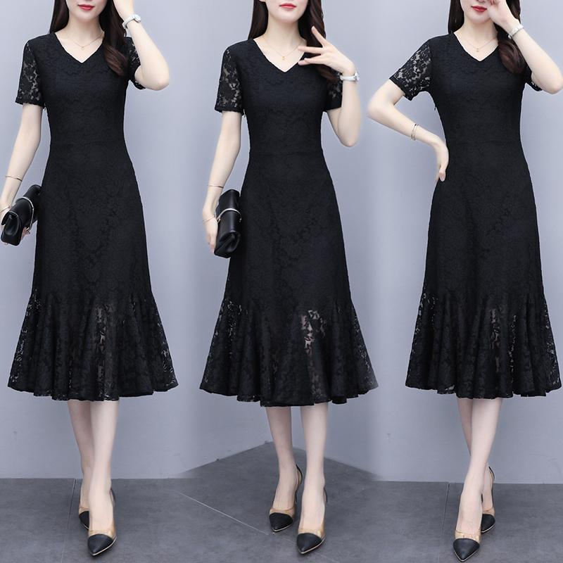 黑色蕾丝连衣裙女2021夏装新款短袖名媛气质显瘦大码女人味鱼尾裙