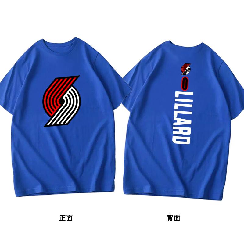 开拓者利拉德麦科勒姆纯棉篮球运动夏季短袖透气训练半袖定制 恤  T