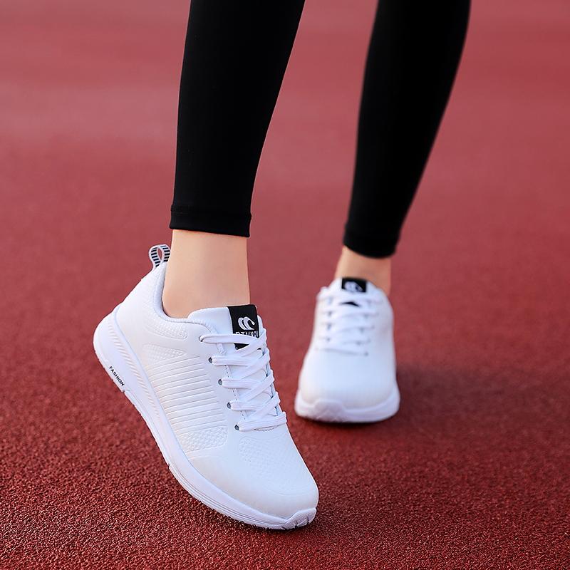 秋季2019女鞋新款百搭网面韩版轻便跑步休闲运动旅游学生黑色单鞋