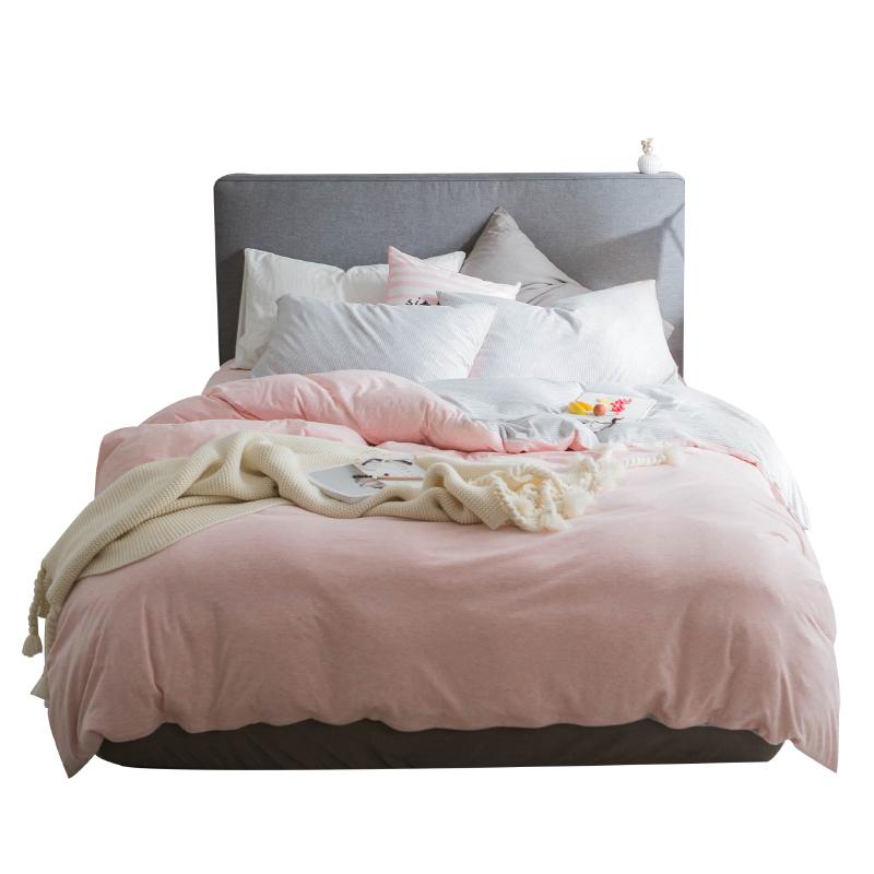 裸睡针织天竺棉床上三四件套全棉 简约纯棉条纹被套床单床笠床品