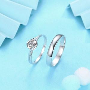 佐卡伊 邂逅 白18k金情侣对戒婚戒结婚戒指一对钻戒订婚男女戒