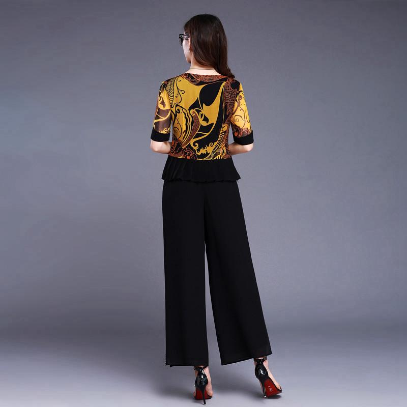 埃伦时尚气质套装2019春夏新款女装印花真丝上衣阔腿裤两件套装