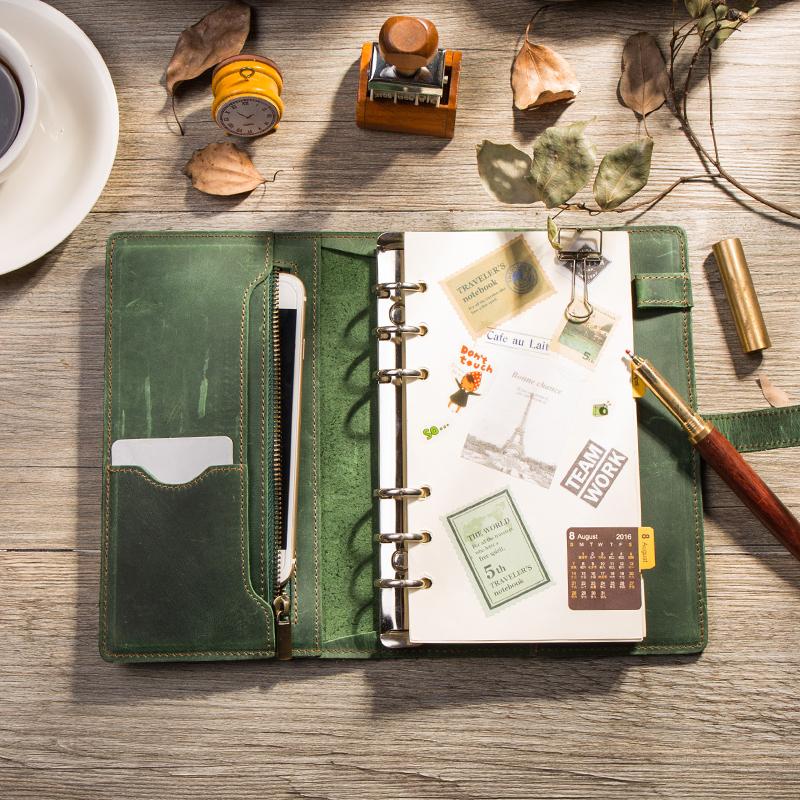 皮扣升级款牛皮手账本,送朋友做手账写日记礼物