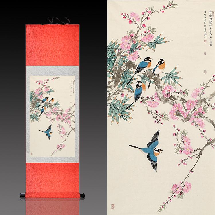 名家國畫卷軸畫絲綢字畫書房客廳裝飾招財花鳥畫早春竟艷桃花四喜