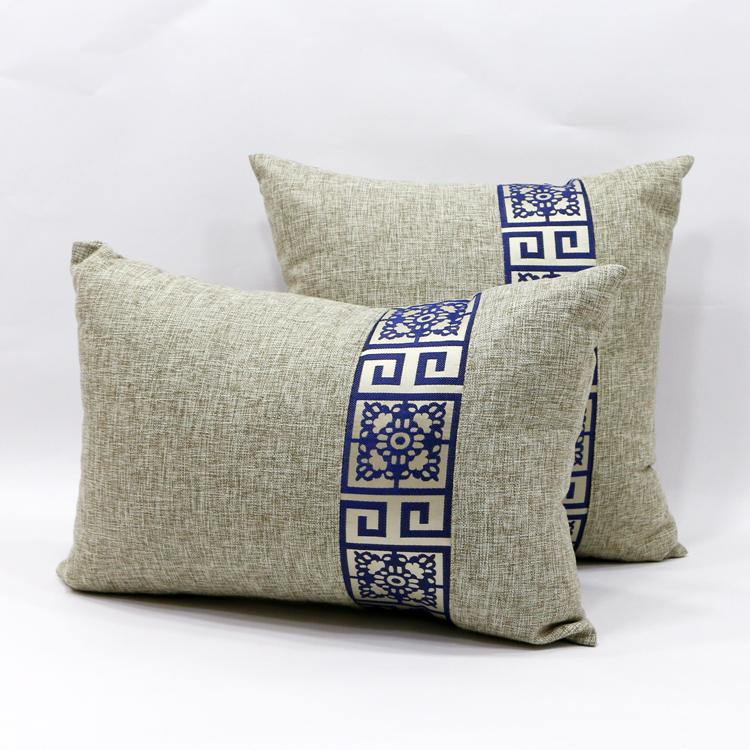 中式田園風亞麻棉麻靠墊抱枕沙發靠枕套汽車靠墊抱枕含芯靠包定製