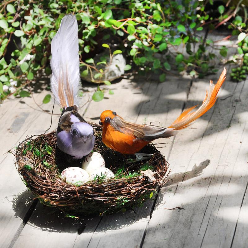 羽毛美式鄉村 夾子麻雀鳥巢鳥窩鳥蛋 田園仿真小鳥裝飾品擺件