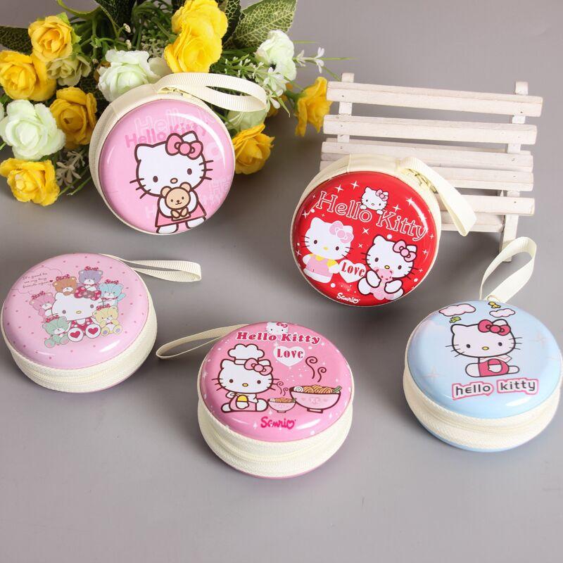 日韩国创意大胡子可爱女孩卡通马口铁盒圆迷你手提钥匙耳机零钱包