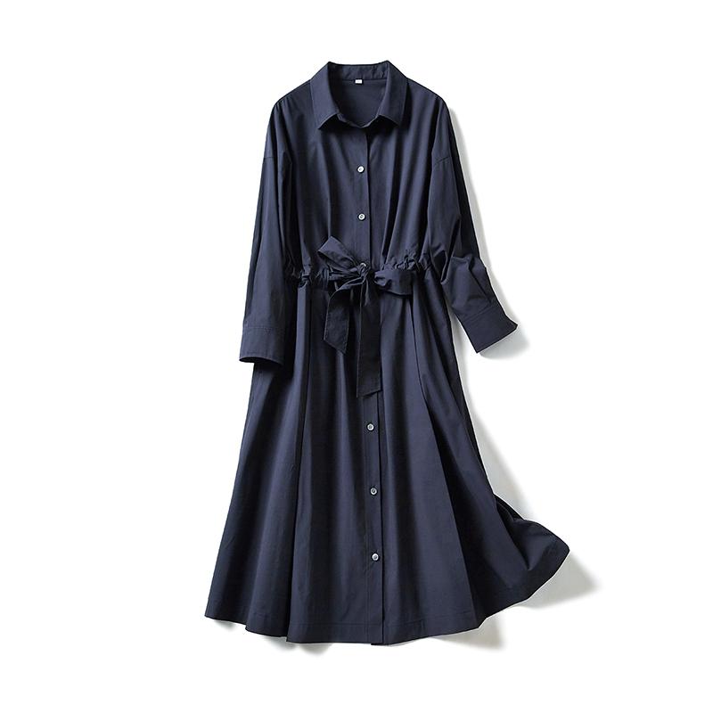 系带收腰大裙摆衬衫式连衣裙 法式高阶通勤 茉莉雅集 MLELQ263