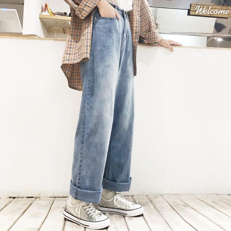 花田橱窗P687 港味阔腿裤复古高腰2019新款显瘦直筒牛仔裤女宽松