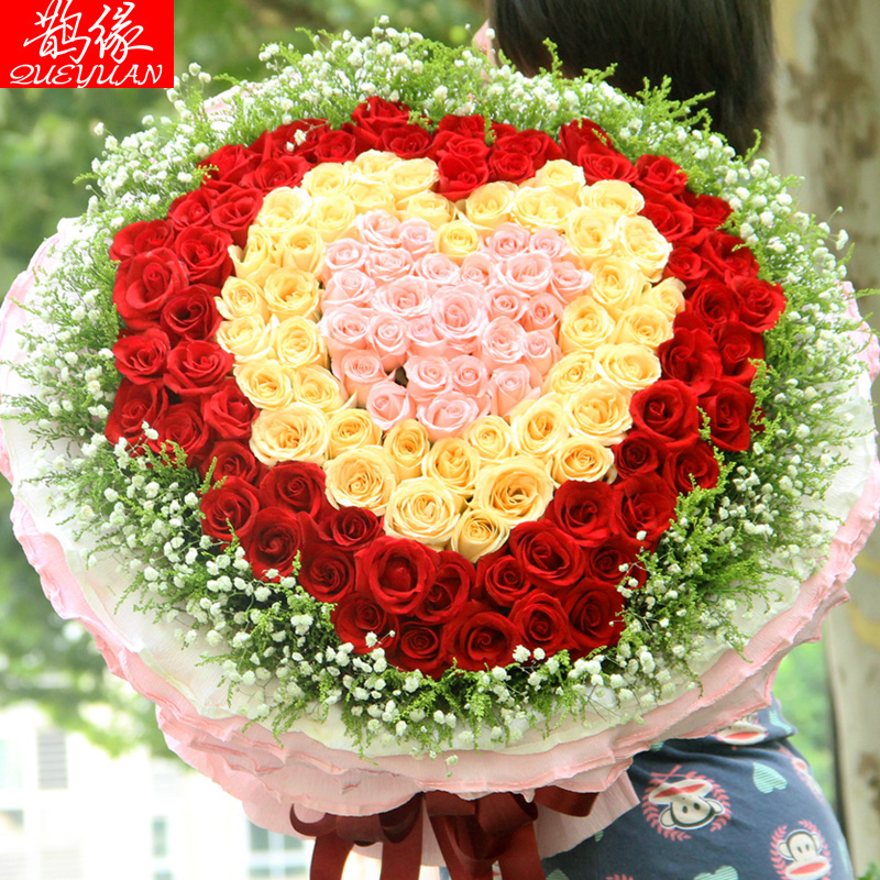 Buy 99 Red Roses Bouquet To Send His Girlfriend A Birthday Flower Delivery Xiamen Quanzhou Sanming Zhangzhou City Florist Flowers In Cheap Price On