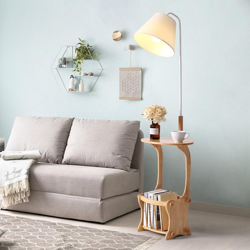 北欧置物架落地灯现代简约卧室床头灯客厅茶几立式书房落地台灯