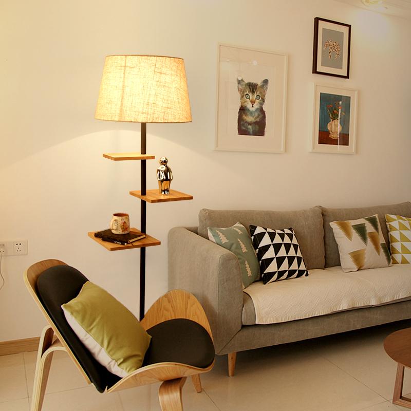 落地灯客厅简约现代北欧原木卧室立式台灯美式创意实木欧式茶几灯