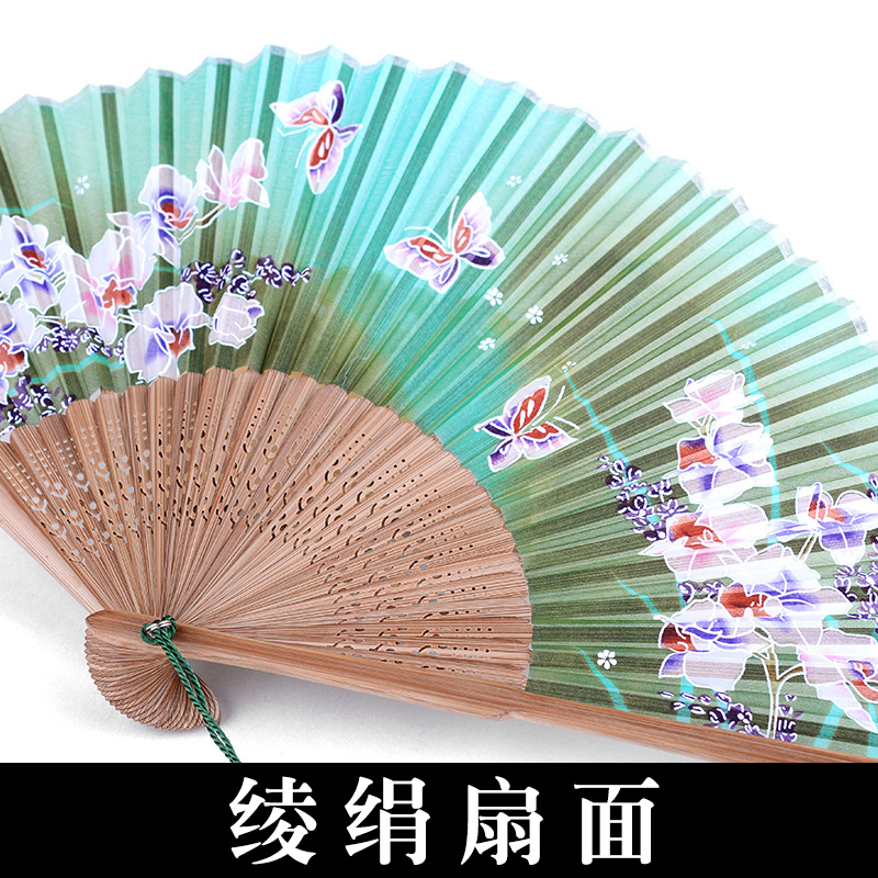 真丝小扇子中国风特色礼物送老外 出国旅游纪念品实用 绢布丝绸