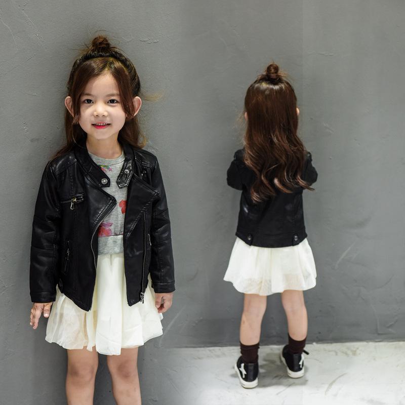 童装女童春装2019新款夹克儿童pu皮衣小童秋冬韩版小女孩公主外套