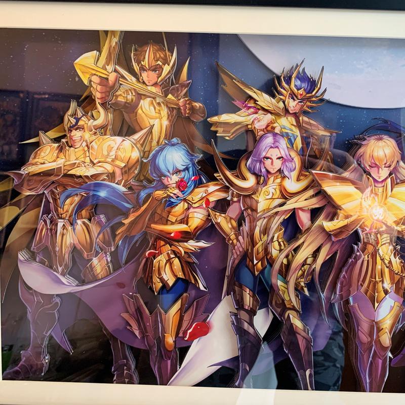 圣斗士星矢 黄金圣斗士立体画  黄金十二宫装饰画 手工裁切 客厅