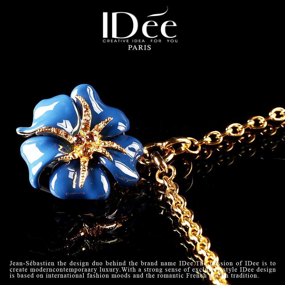 淼水新年蓝玫瑰项链女花朵吊坠时尚挂件浪漫礼物送女朋友淘宝天猫优惠券