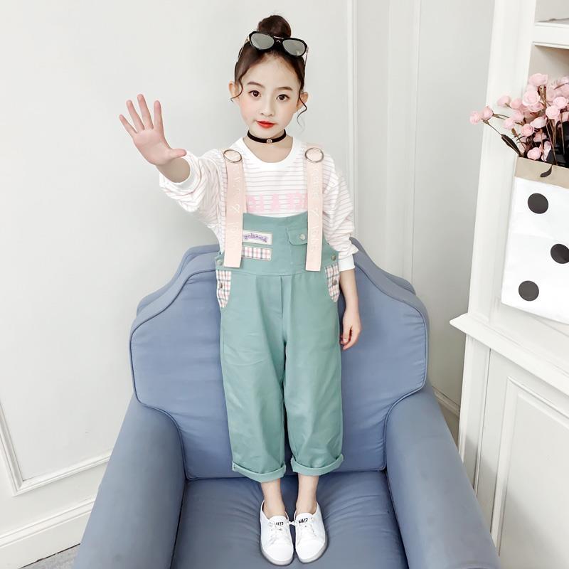 新款儿童装时髦套装韩版背带裤中大童洋气女孩衣服潮 2019 女童春装