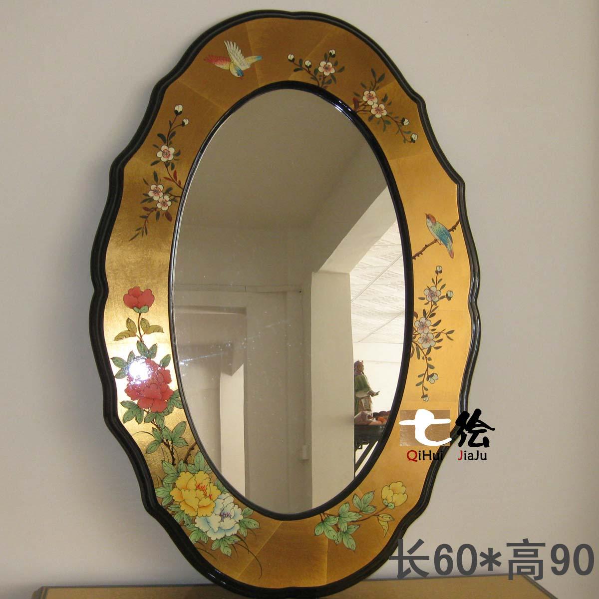 现代中式复古壁挂卧室装饰镜背景墙梳妆镜化妆镜浴室镜子梳妆台镜