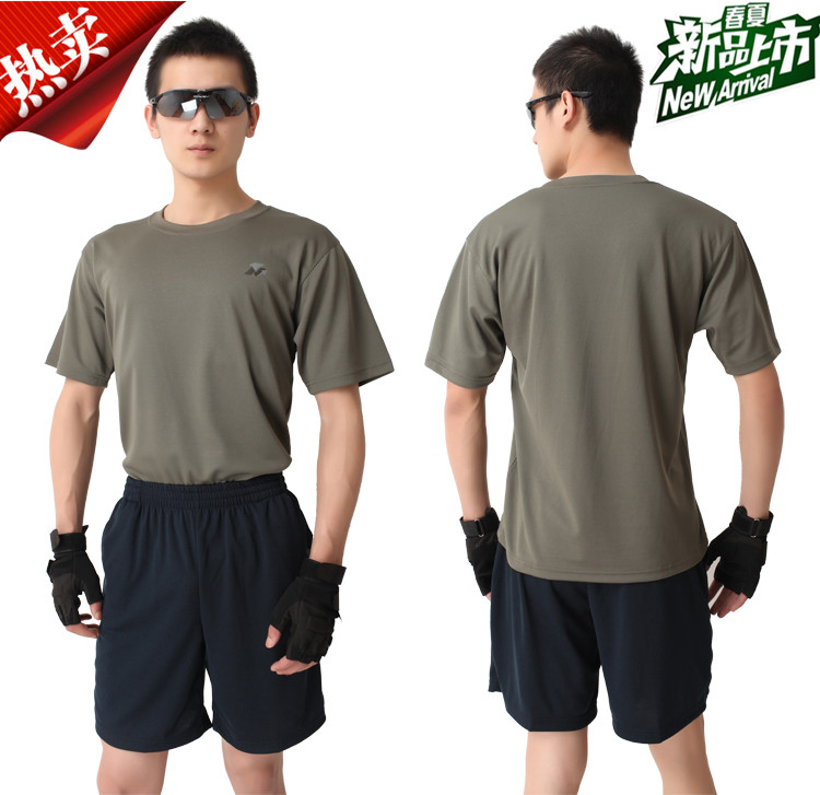 體能訓練服新式灰色短袖T恤藍短褲體能訓練服夏季速幹運動套裝