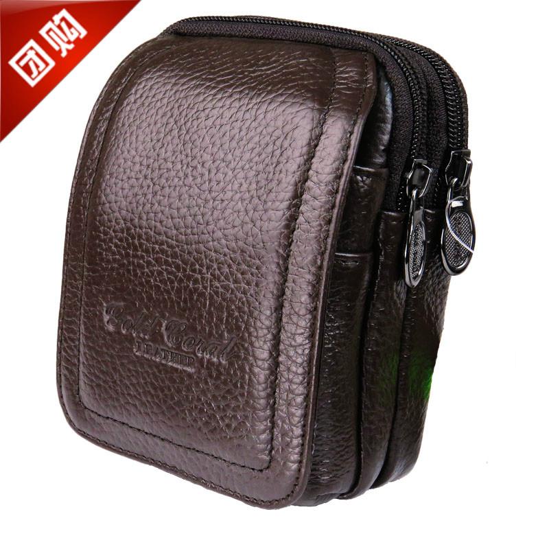 男士真皮穿皮帶手機腰包牛皮3.5/3.7/4寸手機包證件煙包豎款三層