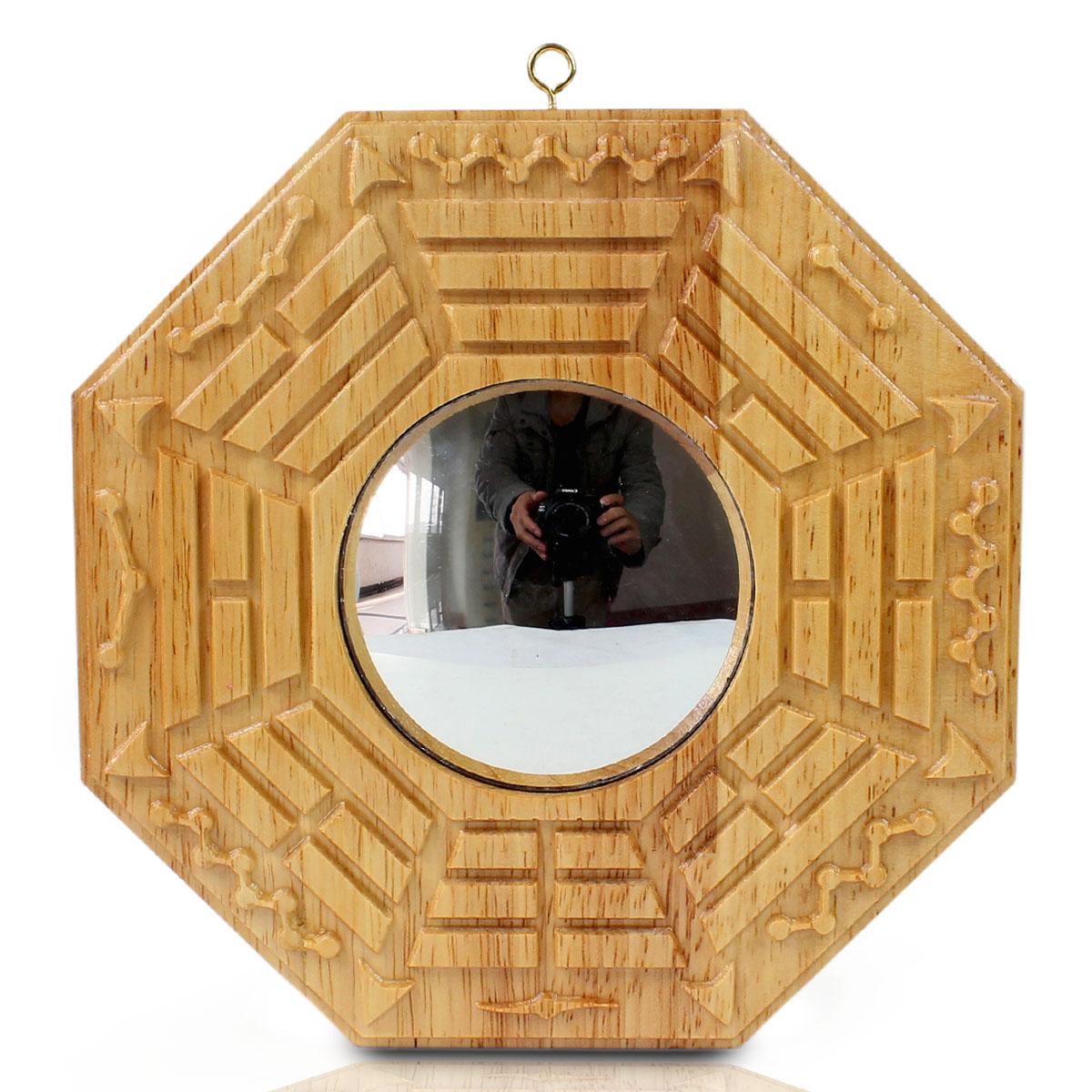 慈緣正堂八卦鏡凸面鏡桃木八卦鏡凸鏡掛件家居裝飾品門廳門口擺件