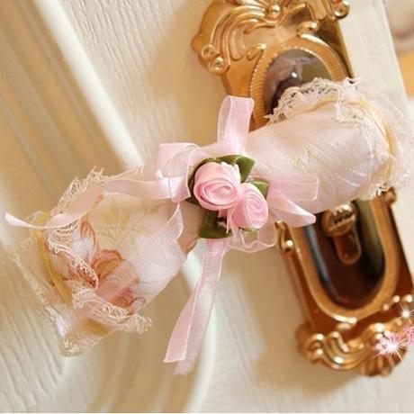 韓式長條形房間門把手套 田園長形門把手套 粉色布藝蕾絲門把套