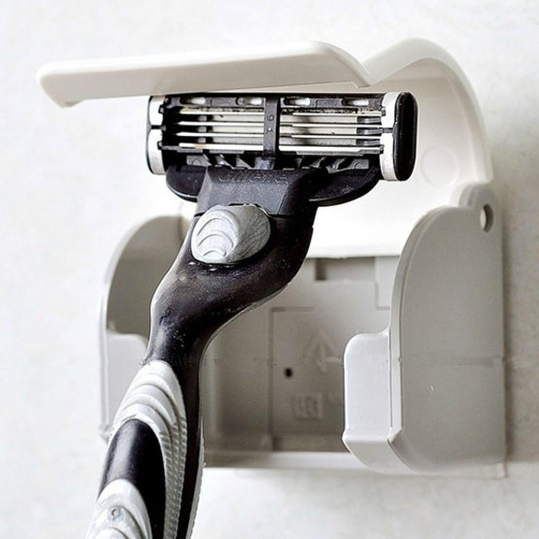 日本KM 浴室貼上式剃鬚刀架 刮鬍刀掛架 簡約防塵須刨收納架