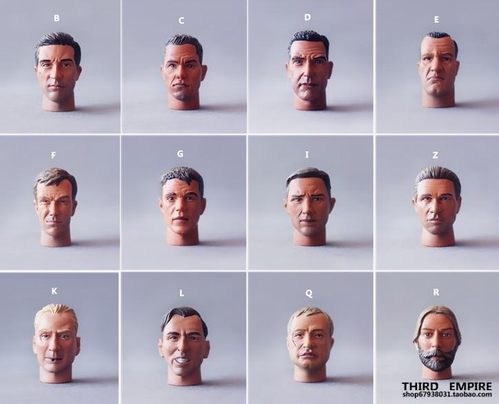 1:6兵人模型散件二戰德軍/美軍/現代長脖子頭雕