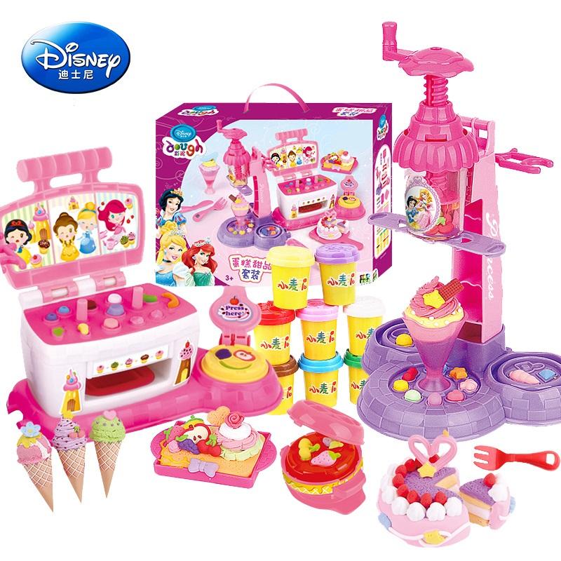 迪士尼女孩橡皮泥模具工具套装3d儿童彩泥雪糕机玩具小麦泥