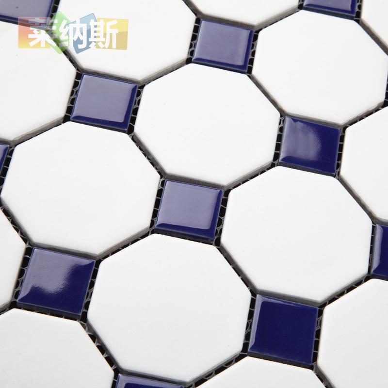 大八角卫生间陶瓷马赛克瓷砖贴黑白欧式浴室客厅厨房防滑地砖