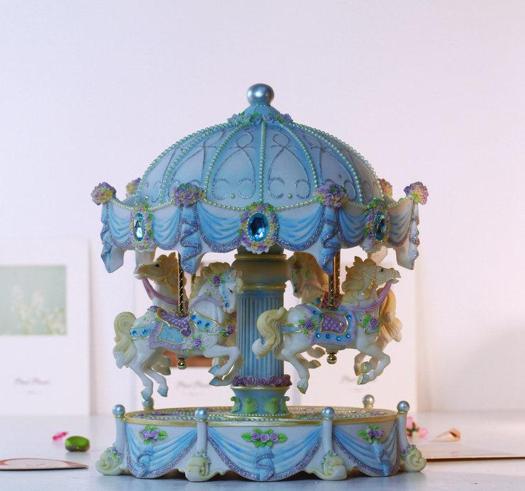 灯旋转木马音乐盒创意表白送女生家居摆饰 万山中大款玫瑰升降 WSA