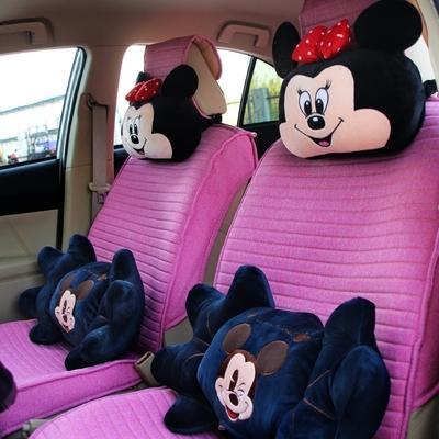 汽车头枕腰靠套装卡通可爱靠枕颈枕一对车靠垫抱枕车用枕头护颈枕 - 图1