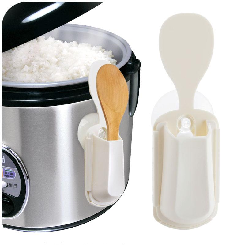 日本KM廚房小工具吸盤式飯勺座 飯勺收納架 可吸電飯煲吸鍋壁儲物