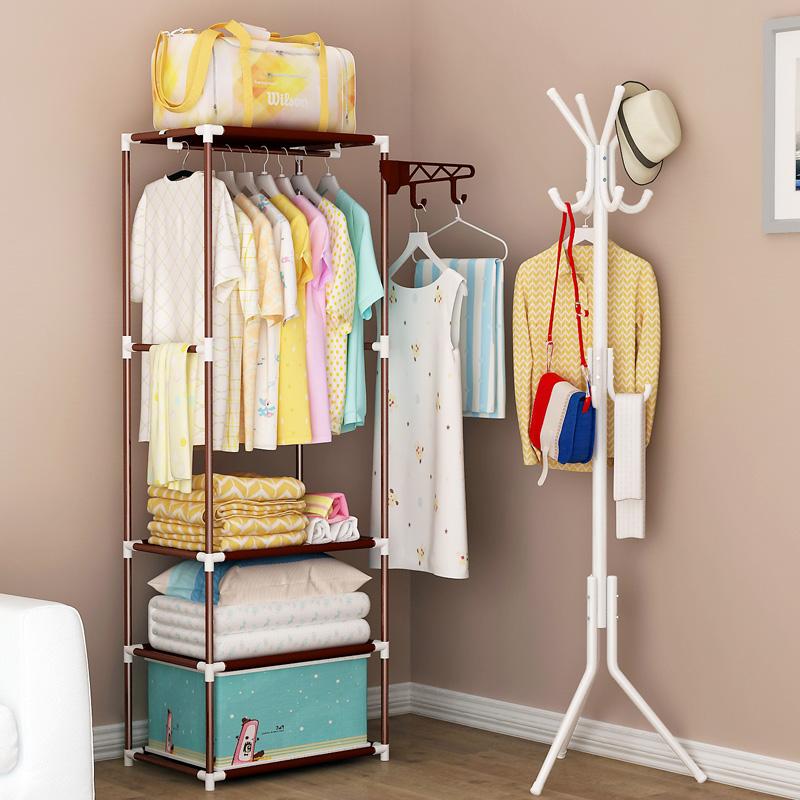 多功能衣帽架落地衣架掛衣服架收納臥室置地加固組裝時尚簡易現代