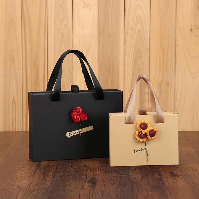 口红香水钱包韩版礼品盒生日礼物盒长方形复古牛皮抽屉式包装礼盒 width=
