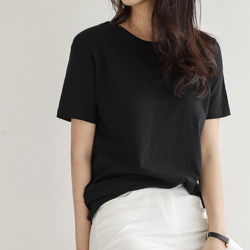 2021夏季新款纯棉白色T恤女短袖宽松韩版百搭简约大码半袖体恤潮主图