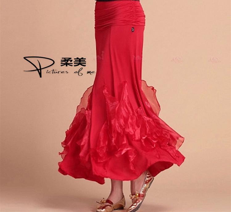 ROUMEI摩登舞裙新款經典國標華爾茲舞裙交誼舞裙半身裙緞邊大擺裙