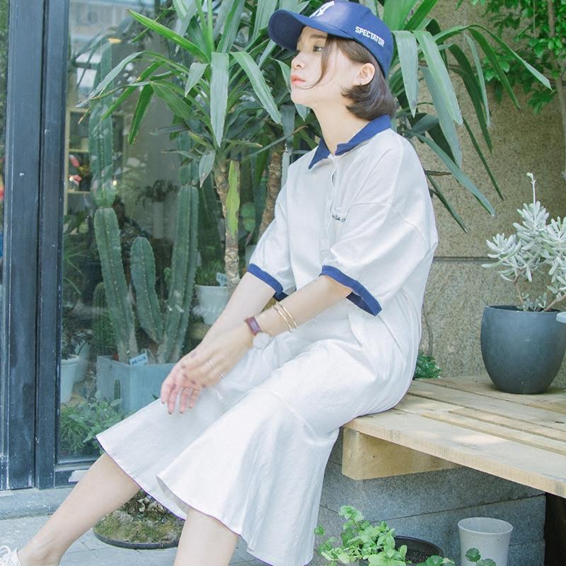 自制/夏新款学院polo领短袖T恤连衣裙中长款清新鱼尾连衣裙chic