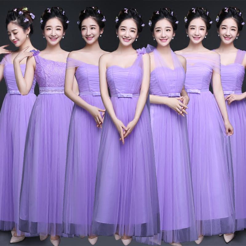 2019新款伴娘礼服长款显瘦伴娘团姐妹裙伴娘服毕业表演服小礼服女