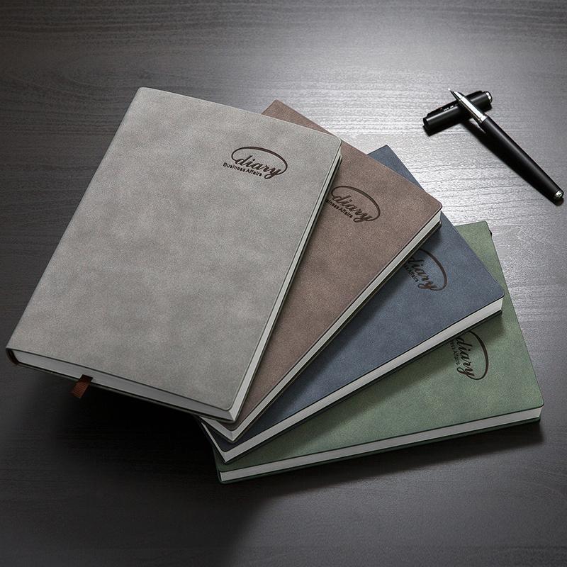 皮面记事本日记本笔记本子羊巴皮商务记事本文具本子加厚手账本A5/B5可定制LOGO文具礼品公司定做
