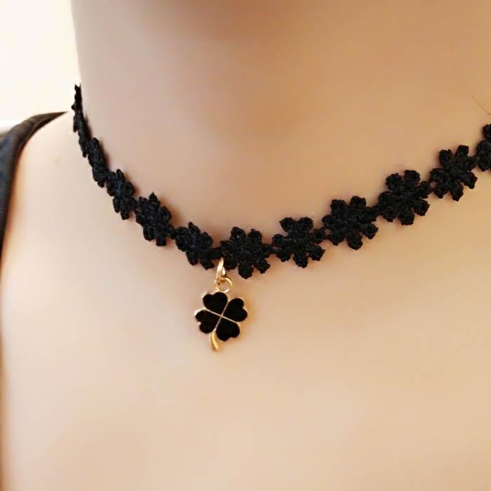 脖子饰品锁骨链女韩国黑色颈带蕾丝四叶草项链颈饰热销脖链项圈女
