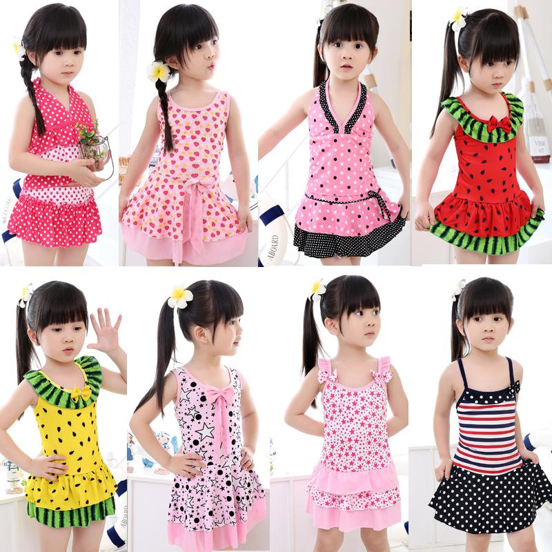 包郵正品兒童泳衣韓國裙式女童分體兒童泳裝女孩中大童連體游泳