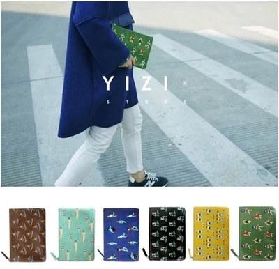 包郵YIZI小清新皮革印花手拿包撞色女mini包收納包衛生棉化妝包袋