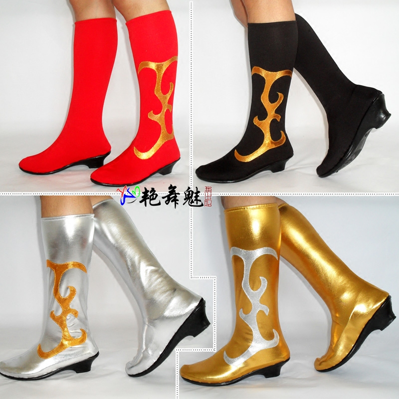 舞蹈鞋女现代舞演出服靴子带底儿童款平跟成人中跟蒙古舞军鼓舞鞋